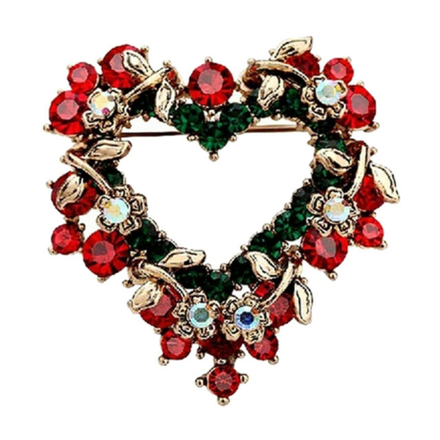Women Red Christmas Love Heart Wreath Breast Pin Brooches Lovely Gift Brooch SK