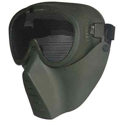 GREEN Metal Mesh Protective Airsoft Paintball Tactical Full Face Google Mask New