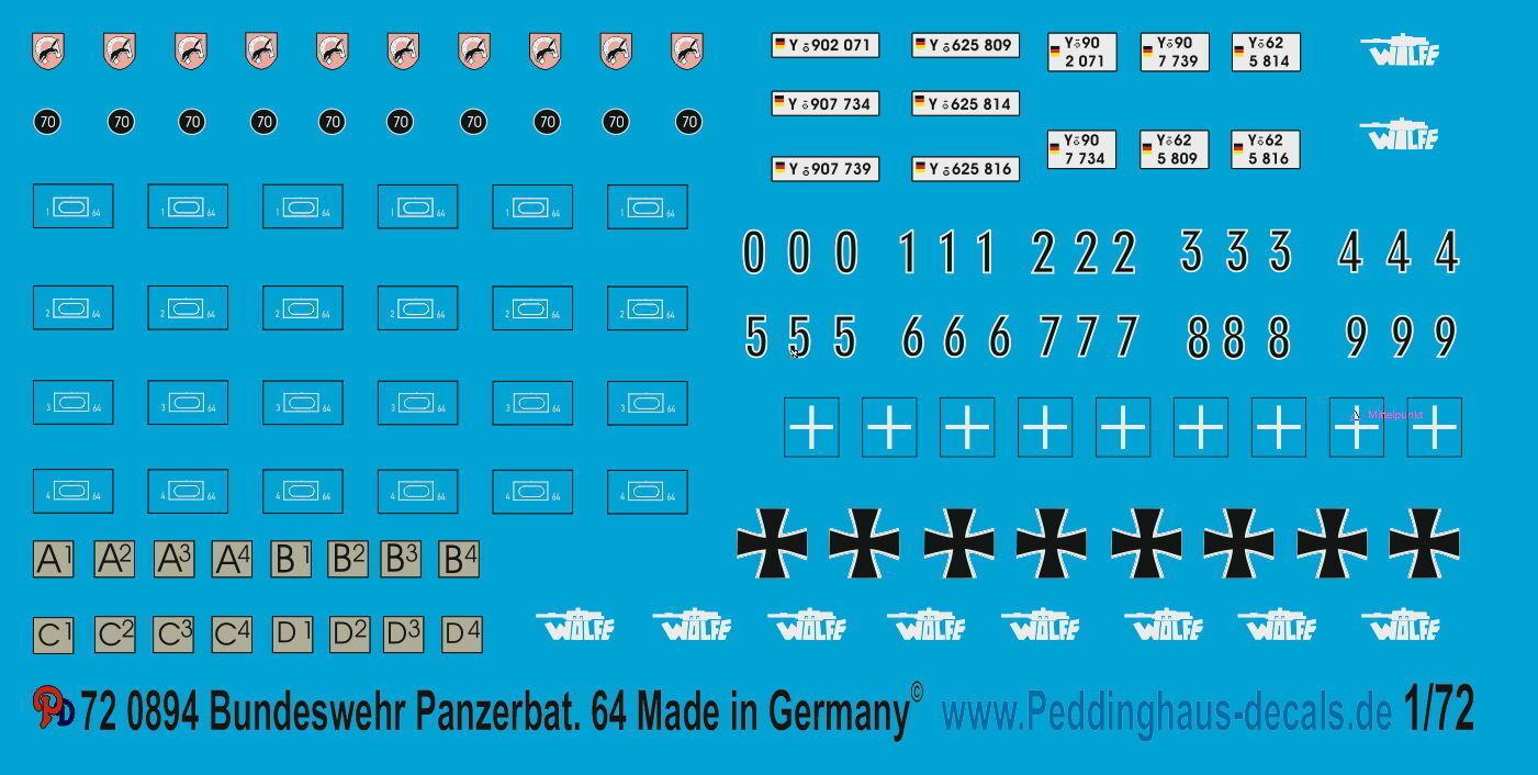 Peddinghaus 1 72 0894 Bundeswehr BATALLÓN DE TANQUES TANQUES TANQUES 64 5948d6