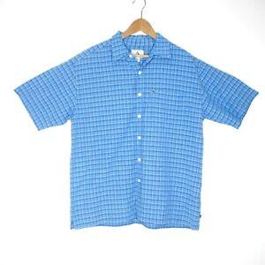 Colorado-Mens-Blue-Plaid-Check-Button-Up-Shirt-Size-Medium