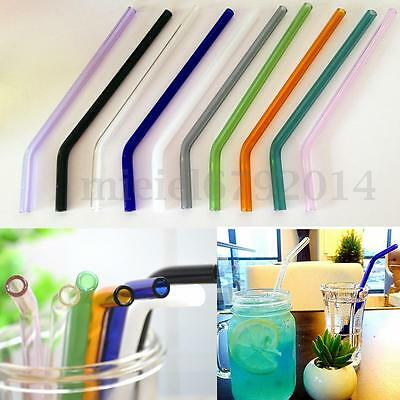 """7.08"""" 8mm Reusable Colorful Bend Glass Drinking Thick Straws Wedding Party"""