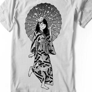 932a9881e Image is loading Anime-Girl-T-shirt-Manga-Japanese-Umbrella-kimono-