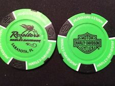"""Harley Golf Ball Marker Poker Chip (NEON Green B/S) Rossiter's"""" Sarasota FL"""