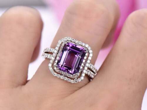3Ct Emerald Brilliant Cut Amethyst Halo Engagement Ring 14k White Gold Finish