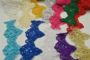 9-5yard-12colors-Pearl-Beaded-amp-Sequin-Bridal-Lace-Trim-for-wedding-sewing-craft