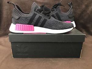 589cd9ba9f30c Adidas NMD R1 W PK Womens BB2364 Core Black Essential Shock Pink ...