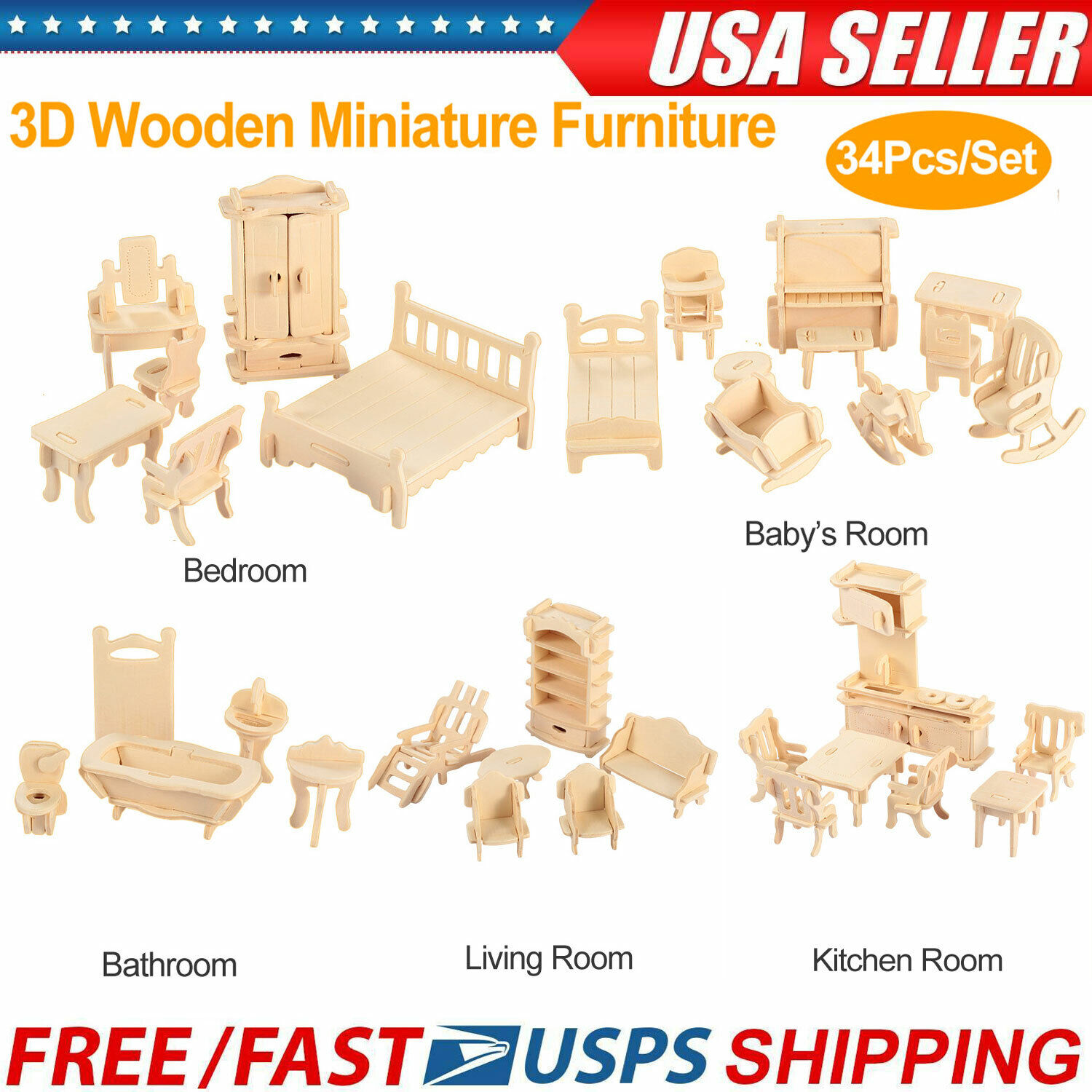 34Pcs 3D DIY Wooden Miniature Dollhouse Furniture Model Kids Play Toys Best Gift