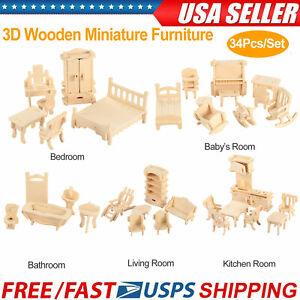 34Pcs-3D-Wooden-Puzzle-DIY-Miniature-Furniture-Dollhouse-Building-Mode-kids-Gift