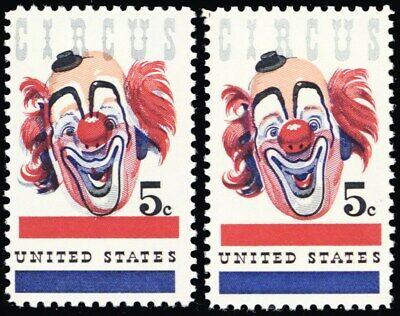 1309 Stuart Katz Shrink-Proof Nice Blue Color Shift Error 5¢ Circus Mint Nh