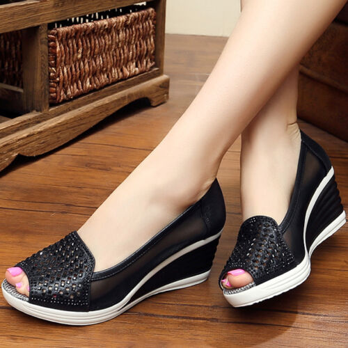 Summer Casual Femme Bout Ouvert à Enfiler Escarpins OL Wedge Talons Hollow Out Chaussures Taille
