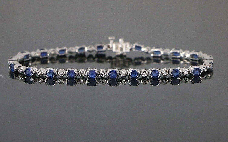 5500 BH EFFY 14K White gold Bezel Set bluee Oval Sapphire Diamond 7.25  Bracelet