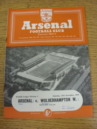 27111954 Arsenal v Wolverhampton Wanderers Neat Match Details Noted On Cover