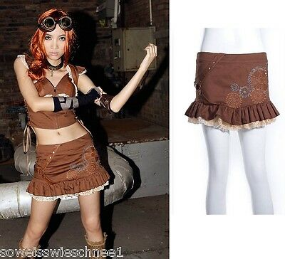 RQ-BL Steampunk Rock Gothic Lolita Ruffles Military Skirt Pirates Brown SP010
