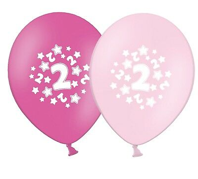 "12/""  Pink Assortment Latex Balloons pack of 6 stars number 2"