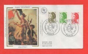 """FDC Enero 1982 - Eugène Delacroix - """"La Libertad Guidant El Popular"""" (658)"""