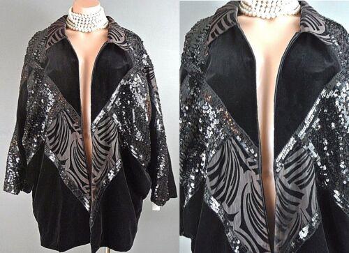 Cover Velour Up1008 Dolman Jacket Coat Beaded Up Formel Sleeve Vintage Zip Black Pxa7Z7