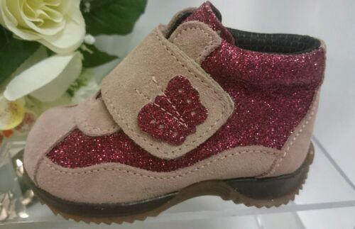 22 Rosa Glitzer LEDER BABY Halbstiefel Kinder Schuhe Herbst MADE IN ITALY Gr