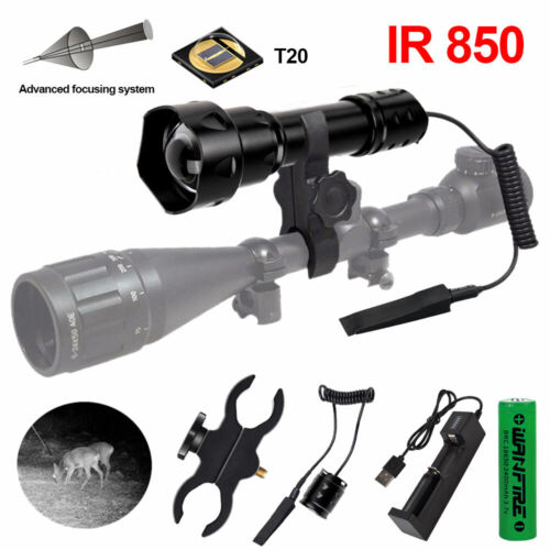 T20 IR 850nm Zoomable Flashlight Night Vision Infrared Gun Light Tactical Torch