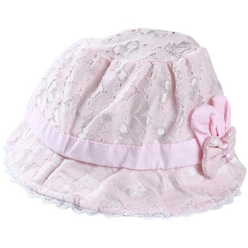 Fashion fille bébé été coton chapeau de pêcheur chapeau Bow-nœud dentelle pour bébé LD