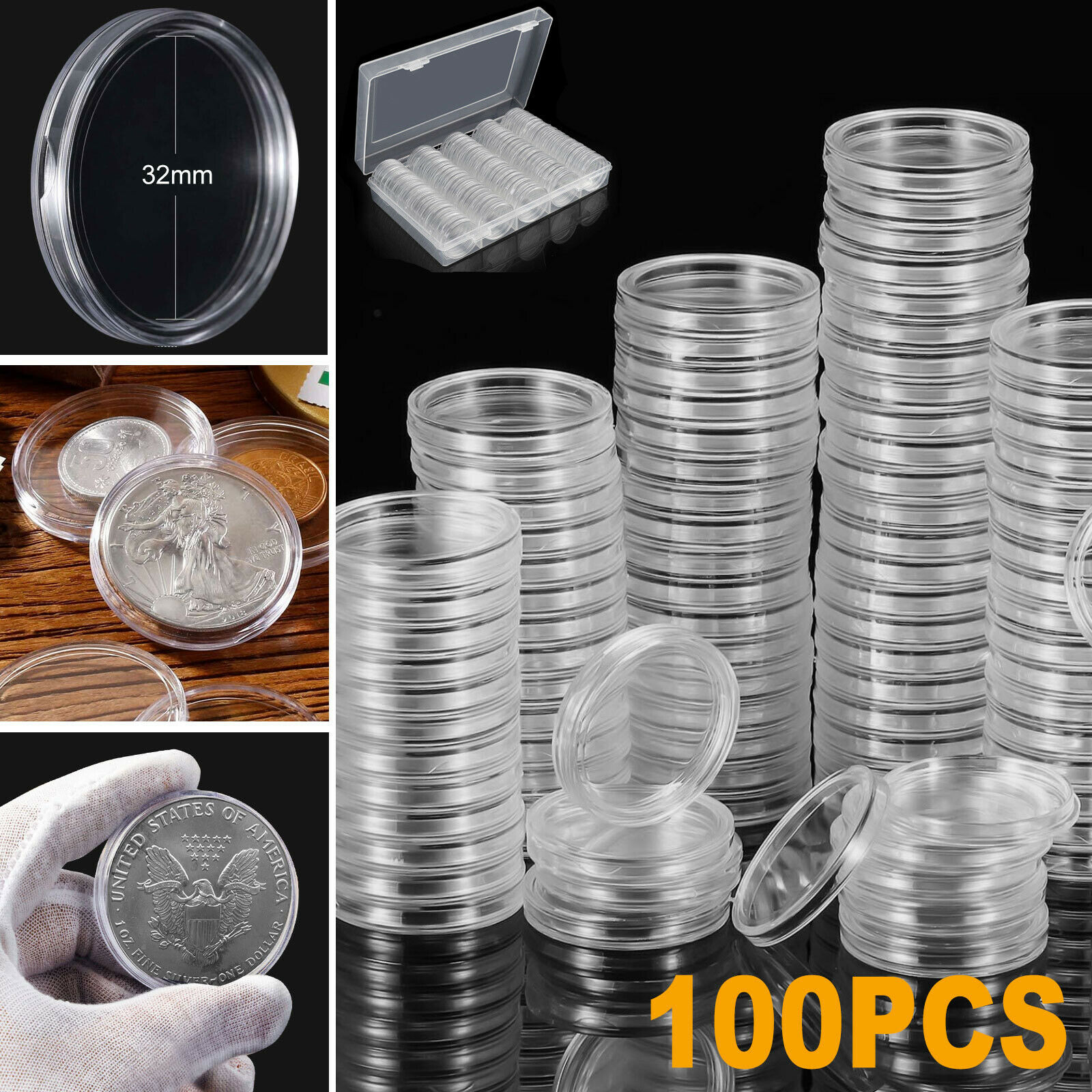 100pcs Clear Cases Coin Capsules Storage Box Display Stands Container