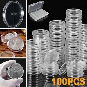 100Pcs 32mm Clear Round Coin Capsule Container Storage Box Holder Case Plastic