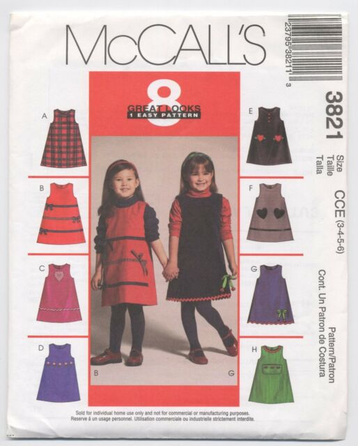 McCalls 3821 Girls Jumper Applique 8 Great Looks 1 Easy Pattern Size 3 4 5 6 UC