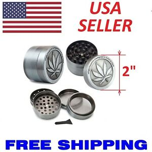 """Pewter Style Grinder 2/"""" 3 Piece Indent YinYang Spice Crusher 140"""