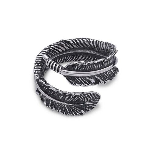SEREBRA Feder Ring Stahl Vogel Vintage verstellbar antik neu