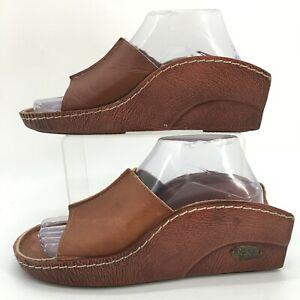 Dr Scholls Cradle Slide Wedge Sandal Womens 8 Brown Leather Slip On Open Toe