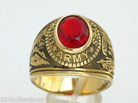 12x10 Mm United States Army Military January Red Garnet Cz Stone Men Ring 7-15