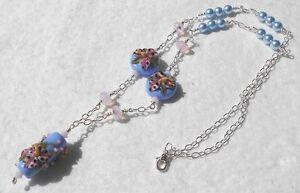 STARGAZER-Lampwork-Lilies-Swarovski-Crystals-Pearls-Blue-Pink-24-034-Necklace
