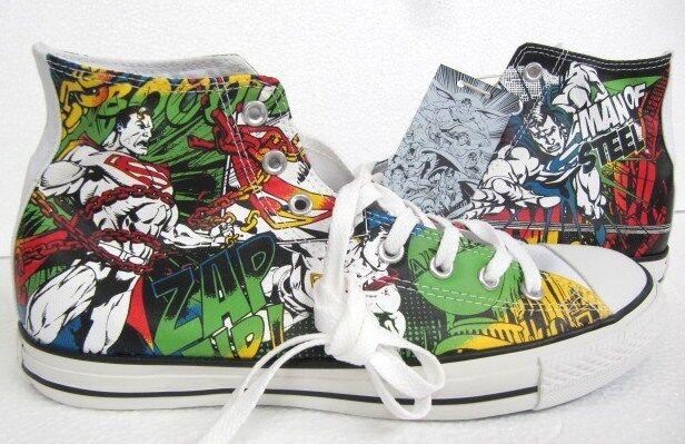 NEW CONVERSE DC COMICS SUPERMAN ALL STAR CHUCK TAYLOR WHITE MEN3-10 SHOES 120822