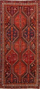 Antique-Geometric-Tribal-Qashqai-Area-Rug-Nomad-Weave-Hand-Knotted-Runner-4-039-x9-039