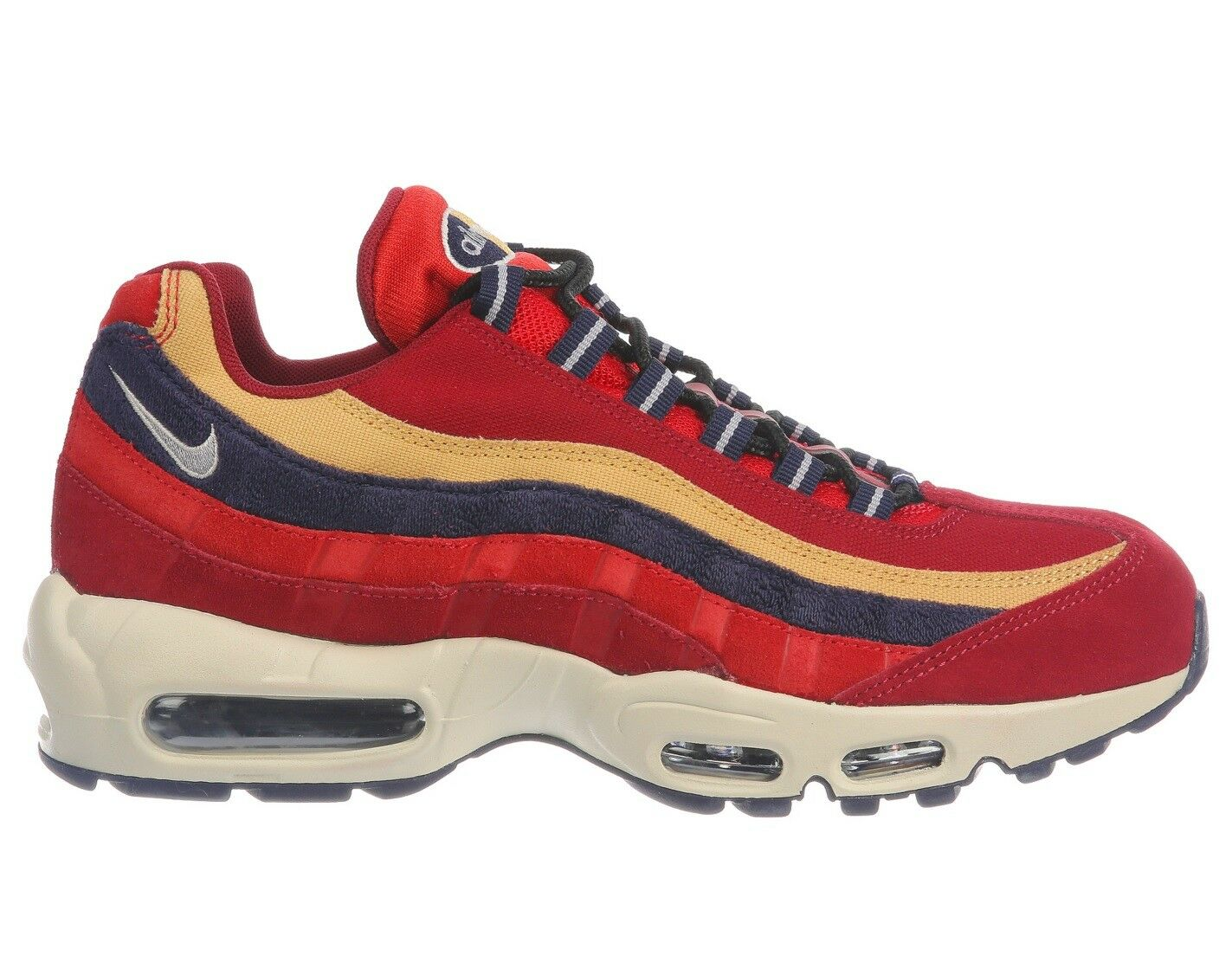 Nike Air Max 95 Premium Mens 538416-603 Red Purple Wheat Running Shoes Size 8.5
