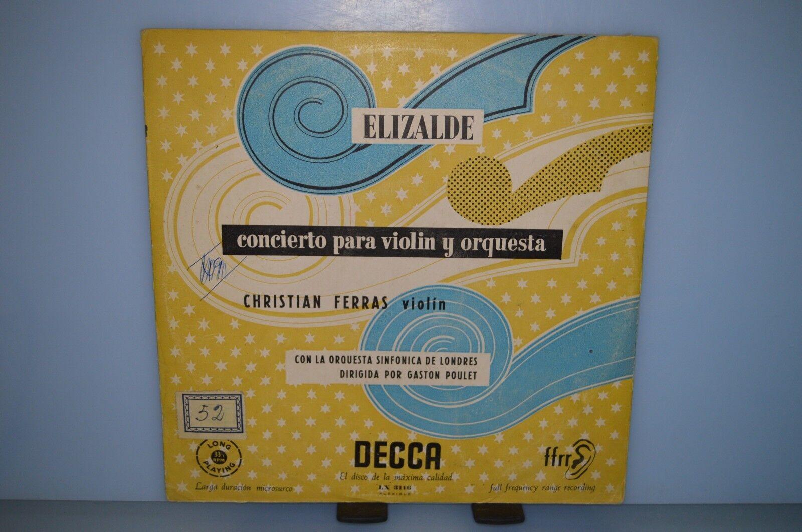 Christian Ferras - Concierto para violin y orquesta. VINILO LP 10