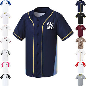 low priced dad16 04294 Details about New York Yankees NY Button Jersey Baseball Uniform Raglan  Open Shirt 1009 fuerza