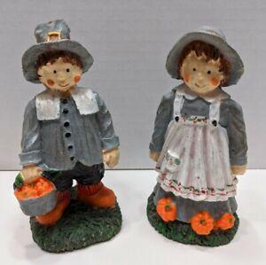 VTG-1998-Polystone-Pilgrim-Couple-W-Pumpkin-Figurines-Thanksgiving-Oomco-Rare
