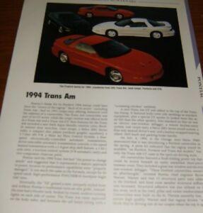 Details About 1994 Pontiac Trans Am Specs Info Photo 94 Formula Gta