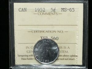 1952-Canadian-Five-Cent-ICCS-Graded-MS-65