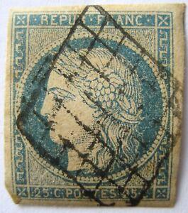 Timbre-France-Non-Dentele-Oblitere-25-c-bleu-Ceres-Annee-1850
