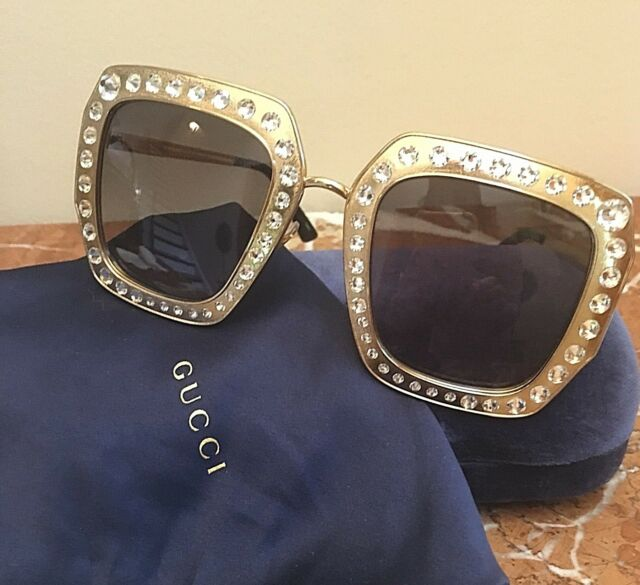 4f01cec346 GUCCI GOLD OVERSIZED SQUARE Metal FRAME SUNGLASSES W CRYSTALS ICONIC GG   1075