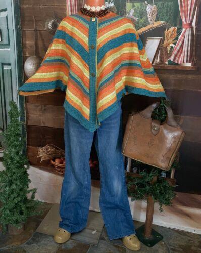 70's Hippie Rikma Cape Woven Cotton Batwing Cloak