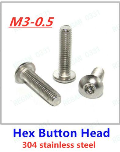 M3-0.5 Allen Hex Douille Bouton Tête Vis Boulon Acier Inoxydable 304 A2-70 ISO7380