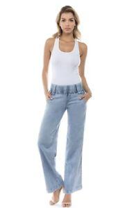 Women-039-s-Juniors-Bootleg-Elastic-Waist-Lose-Fit-Premium-Bootcut-Jeans