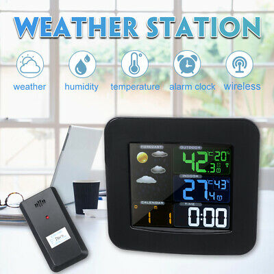 Wireless Wetterstation Innen Außen Thermometer Hygrometer WeckerWettervorhersage