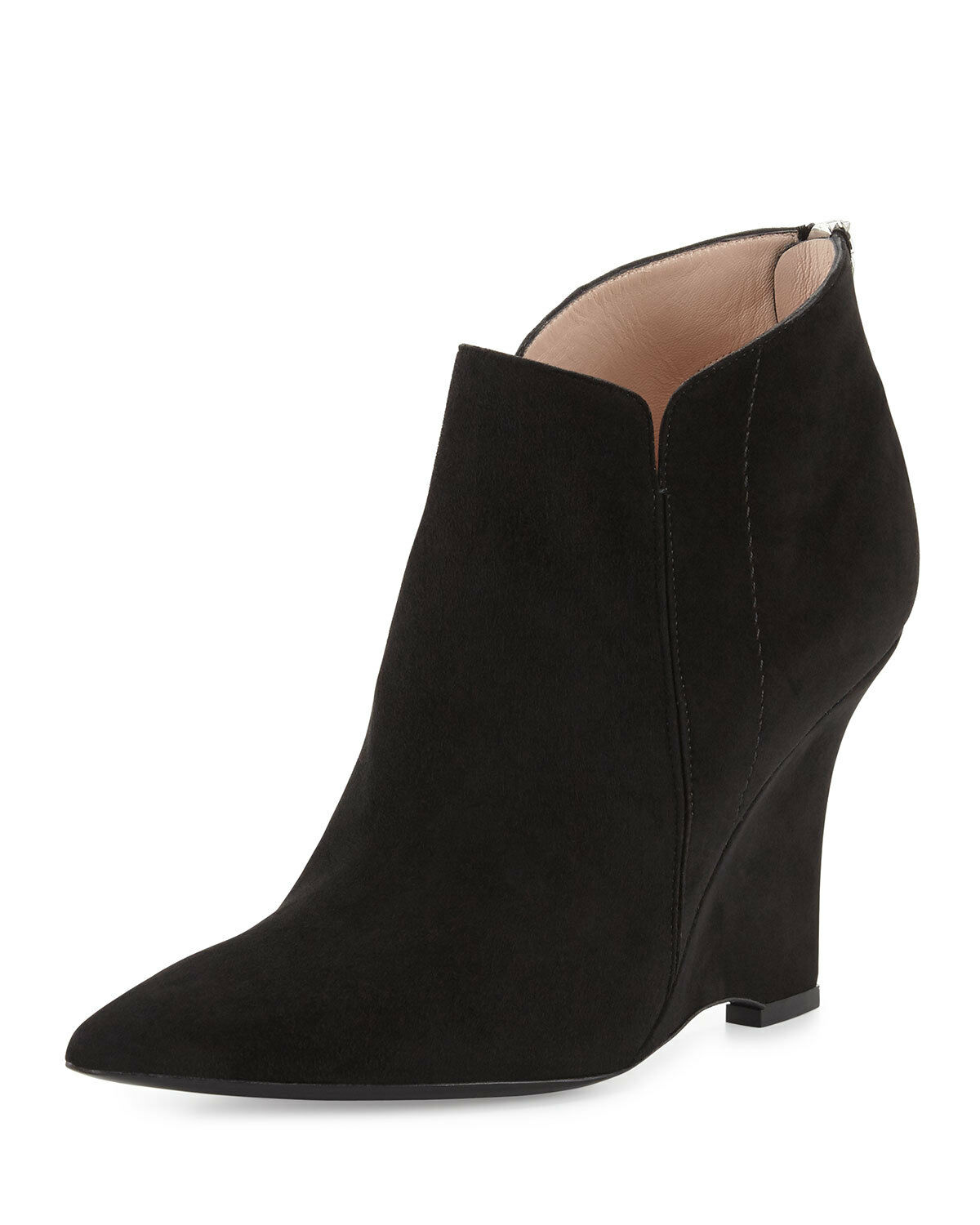 NEW NEW NEW Furla Musa Pointed-Toe ANKLE Bootie Black Suede Women's US 9.5  EU 39.5  675 39914c