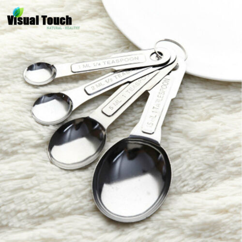 4pcs//Set Stainless Steel Measuring Spoon Tea Coffee Measure Tool Cooking Utensil