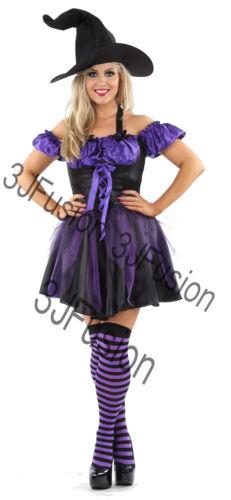Women Ladies Funky Purple Witch Fancy Dress Horror Glamour Halloween Costume ER
