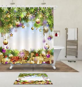 Waterproof Fabric Shower Curtain Liner Bathroom Mat Fantasy Christmas Balls Gift