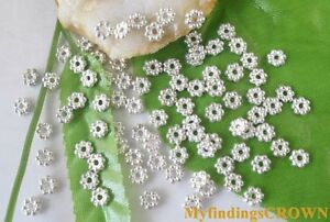 700PCS Silver plated daisy spacer beads 5mm W301 LEAD FREE